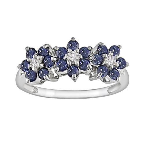 10k White Gold Sapphire and Diamond Accent Flower Ring