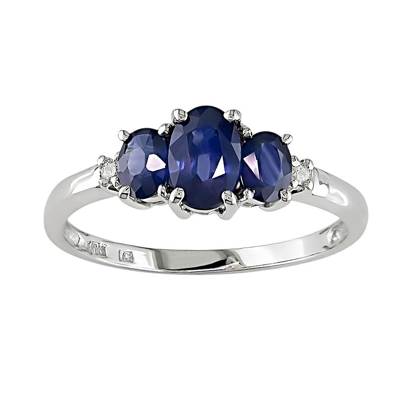 10k White Gold Sapphire and Diamond Accent 3-Stone Ring