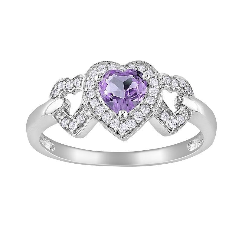 10k White Gold 1/8-ct. T.W. Diamond and Amethyst Heart Ring