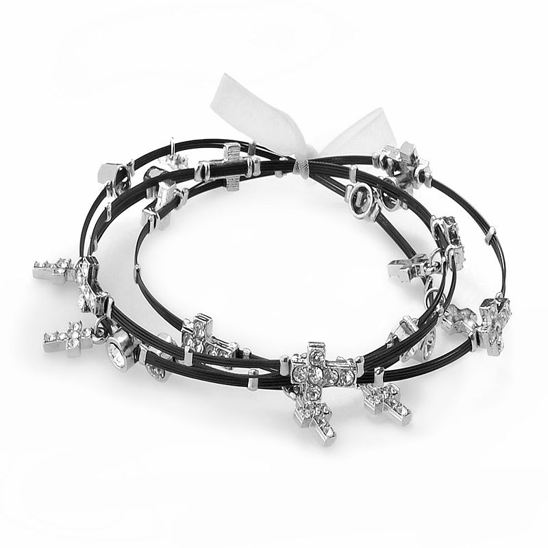 Silver Plate and Black-Coated Stainless Steel Crystal Cross Charm Wire Bangle Bracelet Set