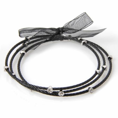 Silver Plate and Stainless Steel Black Ion Crystal Cable Bangle Bracelet Set