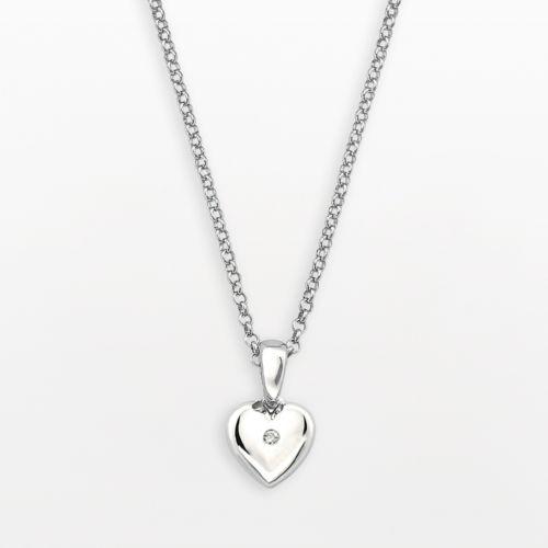 Little Diva Diamonds Sterling Silver White Sapphire Heart Pendant - Kids