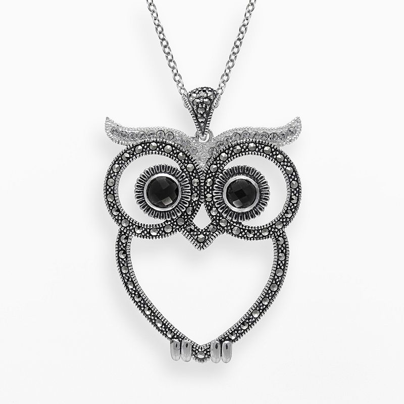 Lavish by TJM Sterling Silver Onyx and Crystal Owl Pendant - - Made with Swarovski Marcasite