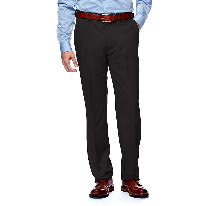 Men's Haggar® Straight-Fit Flat-Front Herringbone Microfiber Dress Pants