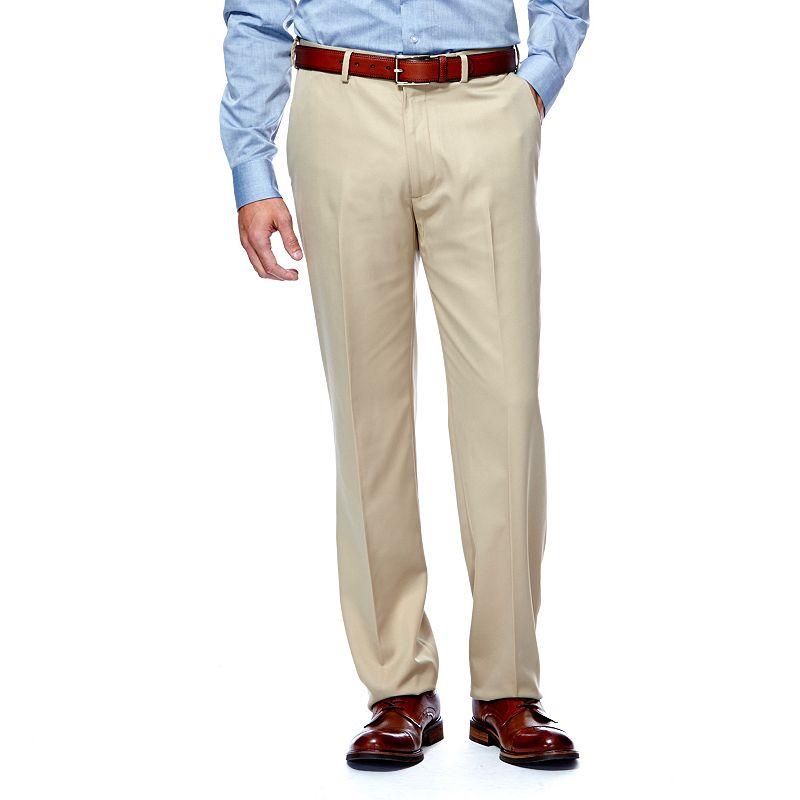 Men's Haggar® Straight-Fit Flat-Front Herringbone Microfiber Dress Pants