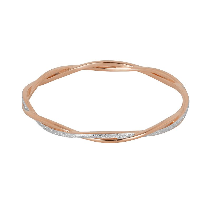 18k Rose Gold Over Bronze and Rhodium-Plated Bronze Diamond Accent Twist Bangle Bracelet
