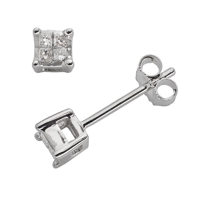 10k White Gold 1/10-ct. T.W. Diamond Stud Earrings