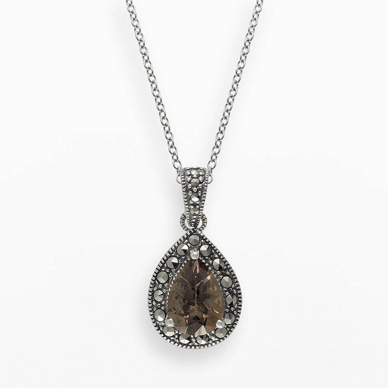 Lavish by TJM Sterling Silver Smoky Quartz Teardrop Pendant - Made with Swarovski Marcasite