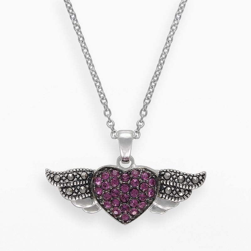 Lavish by TJM Sterling Silver Pink Crystal Angel Heart Pendant - Made with Swarovski Marcasite