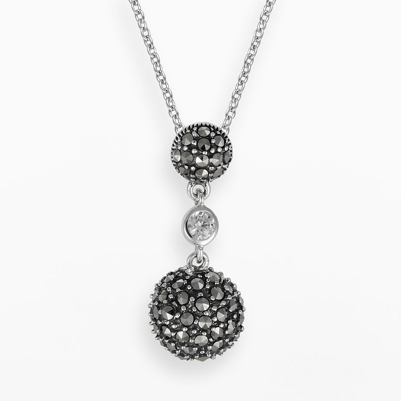 Lavish by TJM Sterling Silver Cubic Zirconia Ball Pendant - Made with Swarovski Marcasite