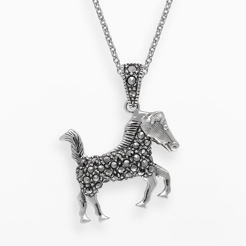 Lavish by TJM Sterling Silver Horse Pendant - Made with Swarovski Marcasite