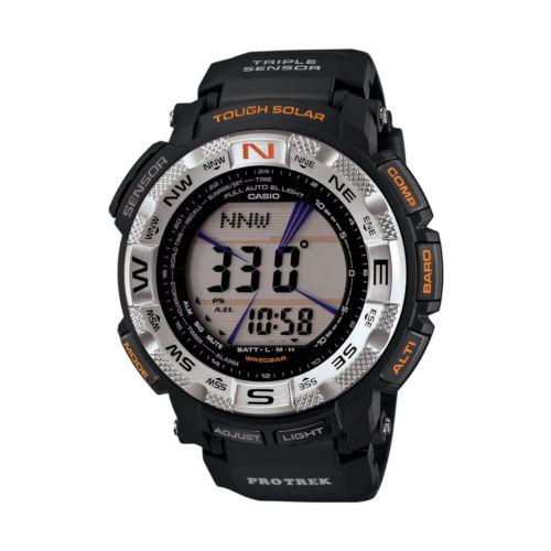 Casio Men's PRO TREK Black Ion Stainless Steel Digital Solar Watch