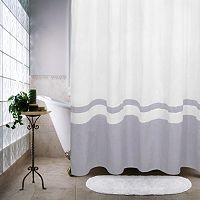 Ultra Spa by Park B. Smith Waffle Border Fabric Shower Curtain