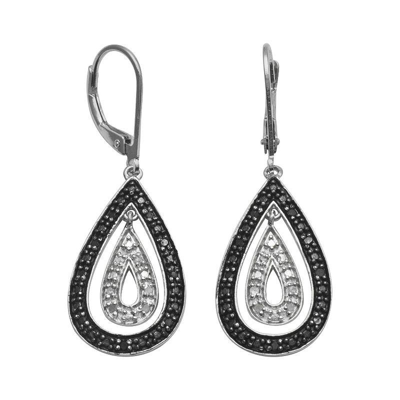Sterling Silver 1/4-ct. T.W. Black and White Diamond Teardrop Earrings