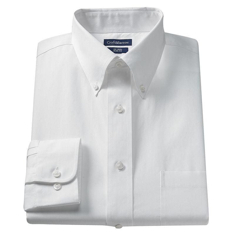 Big & Tall Croft & Barrow® Core Solid No Iron Button-Down Dress Shirt