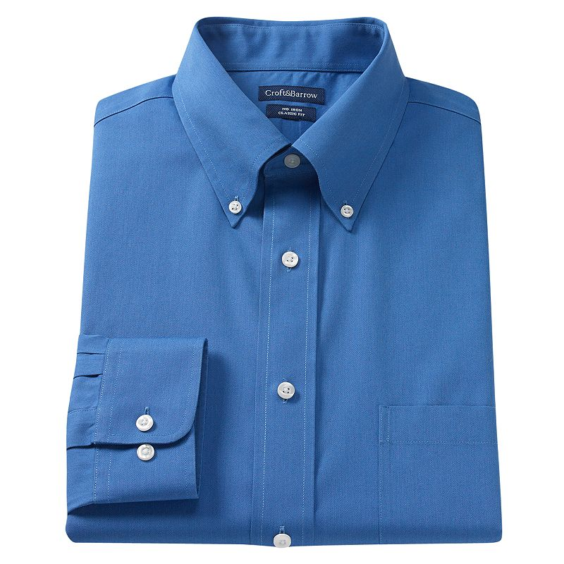 Big & Tall Croft & Barrow® Core Solid No Iron Button-Down Dress Shirt