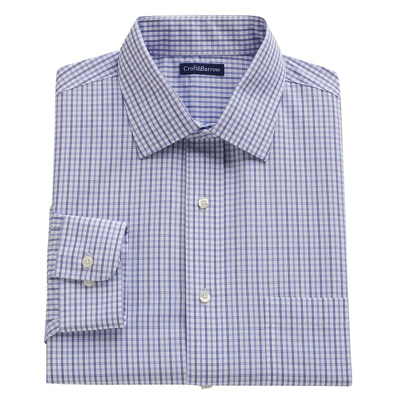 Big & Tall Croft & Barrow® Checked No-Iron Spread-Collar Dress Shirt