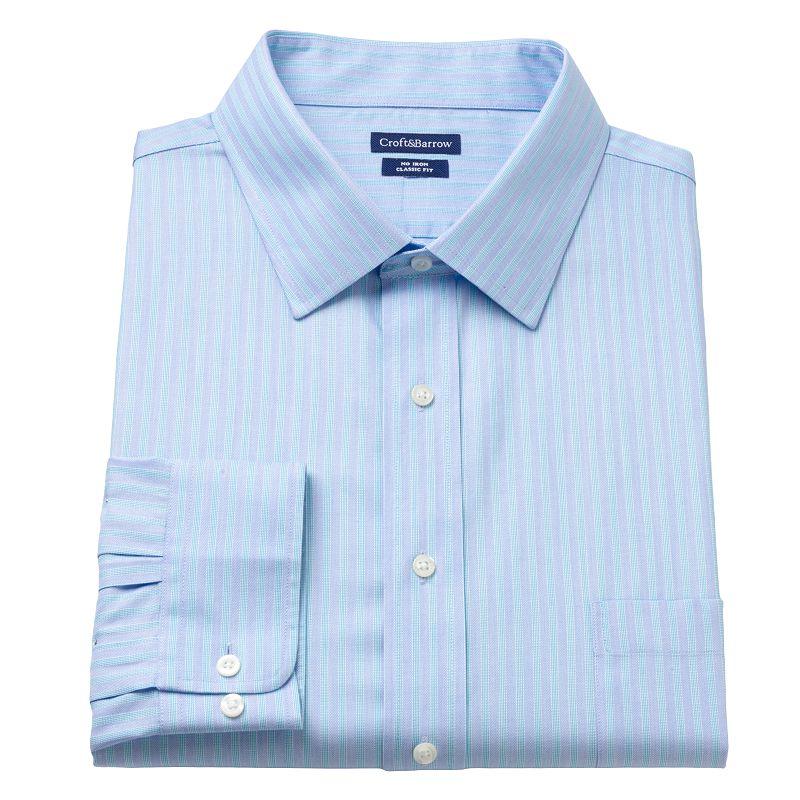 Big & Tall Croft & Barrow® Checked No-Iron Spread-Collar Dress Shirt