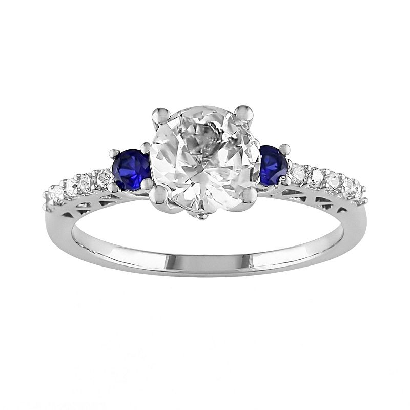 Round-Cut Diamond, Lab-Created White Sapphire & Lab-Created Blue Sapphire Engagement Ring in 10k White Gold (1/10 ct. T.W.)
