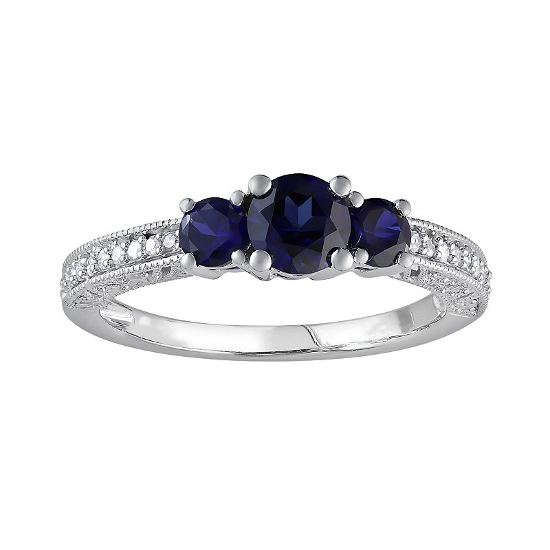 Lab-Created Sapphire and Diamond 3-Stone Engagement Ring in 10k White Gold (1/6 ct. T.W.)