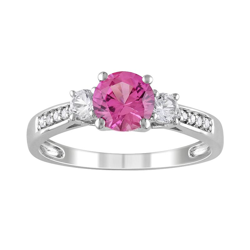 Lab-Created Pink Sapphire, Lab-Created White Sapphire and Diamond Accent Engagement Ring in 10k White Gold