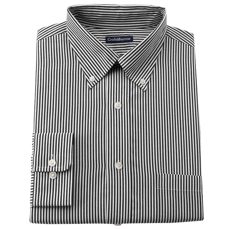Big & Tall Croft & Barrow® Striped Easy-Care Button-Down Collar Dress Shirt