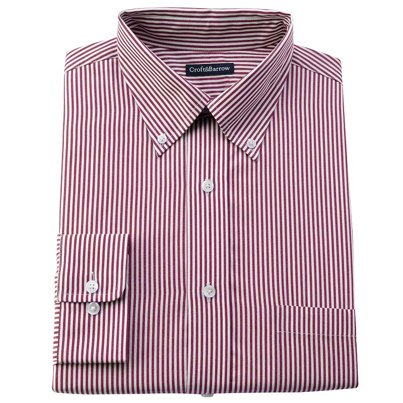 Big & Tall Croft & Barrow® Striped Easy-Care Button-Down Collar Dress Shirt