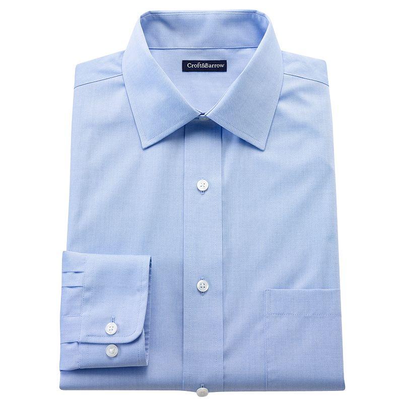 Big & Tall Croft & Barrow® Solid Easy-Care Spread-Collar Dress Shirt