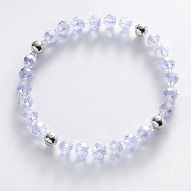 Silver Plate Lavender Crystal Bead Stretch Bracelet