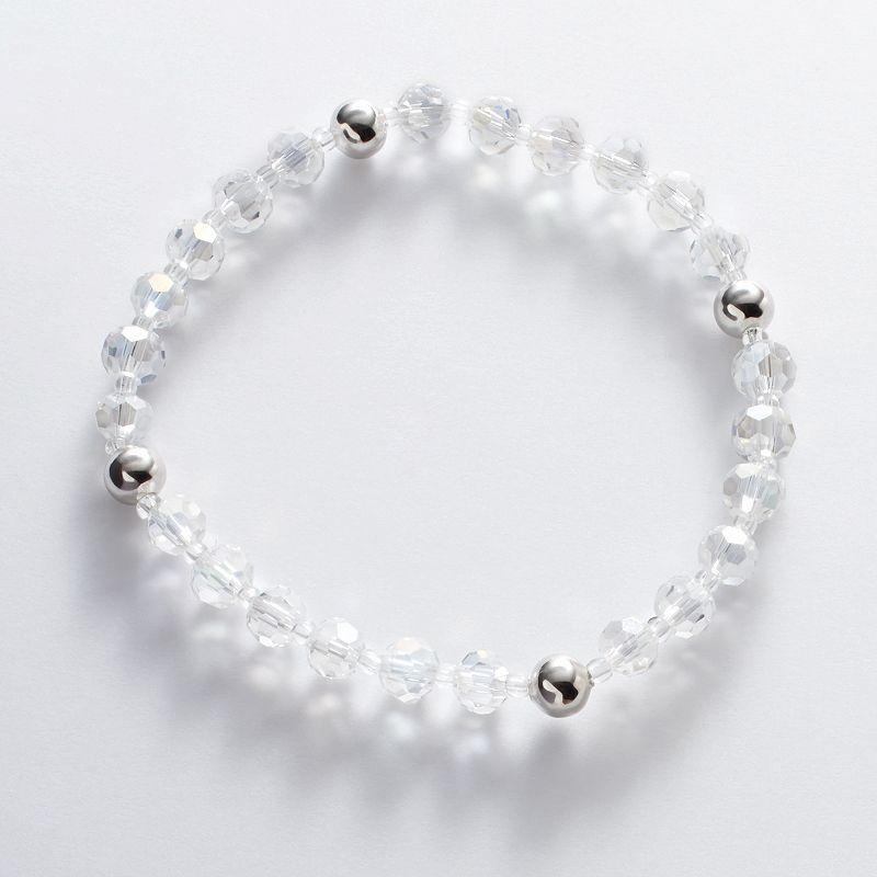 Silver Plate Crystal Bead Stretch Bracelet