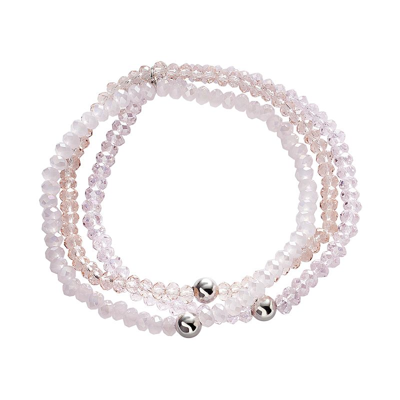 Silver Plate Crystal Multistrand Stretch Bracelet