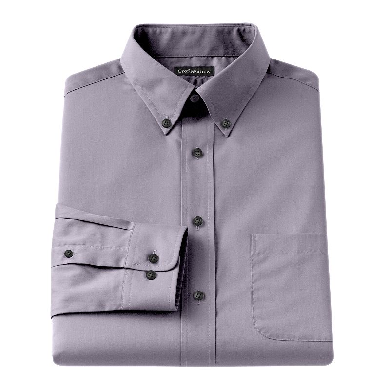 Croft barrow classic fit solid broadcloth button down for Tall collar dress shirts