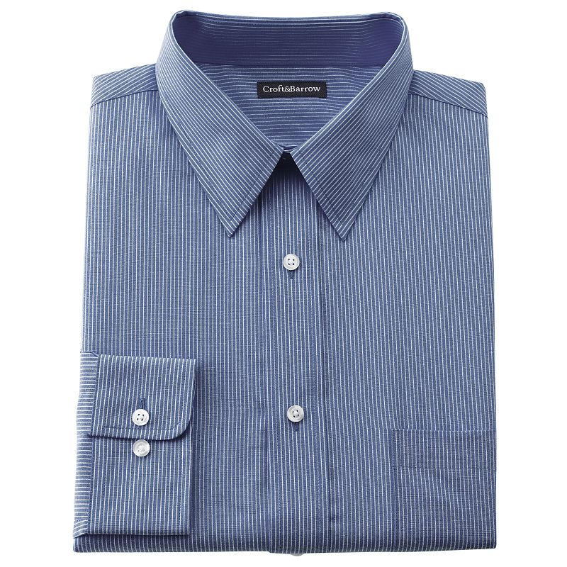 Big & Tall Croft & Barrow® Striped Broadcloth Point-Collar Dress Shirt