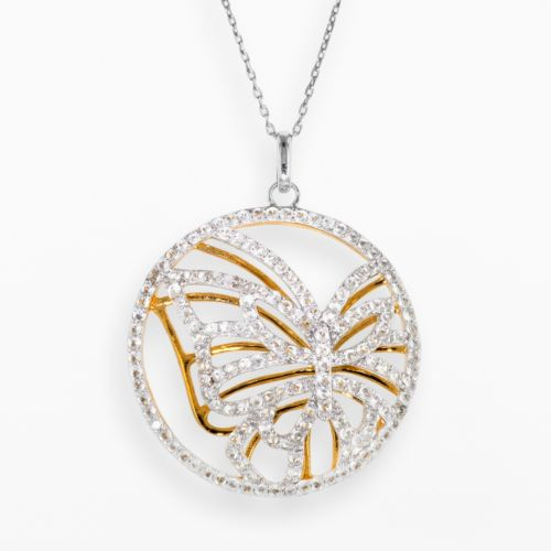 14k Gold Over Silver and Sterling Silver Lab-Created White Sapphire Butterfly Circle Pendant
