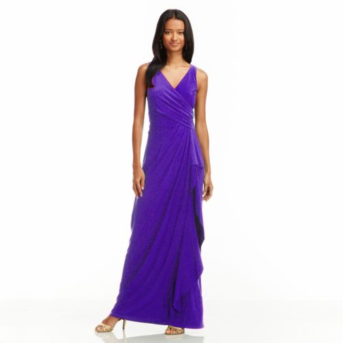 Chaps Faux-Wrap Empire Evening Gown - Women's