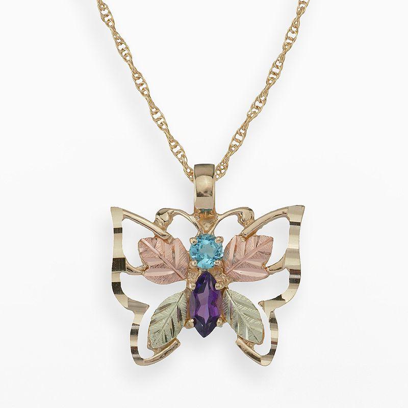 Black Hills Gold Tri-Tone Amethyst & Blue Topaz Butterfly Pendant