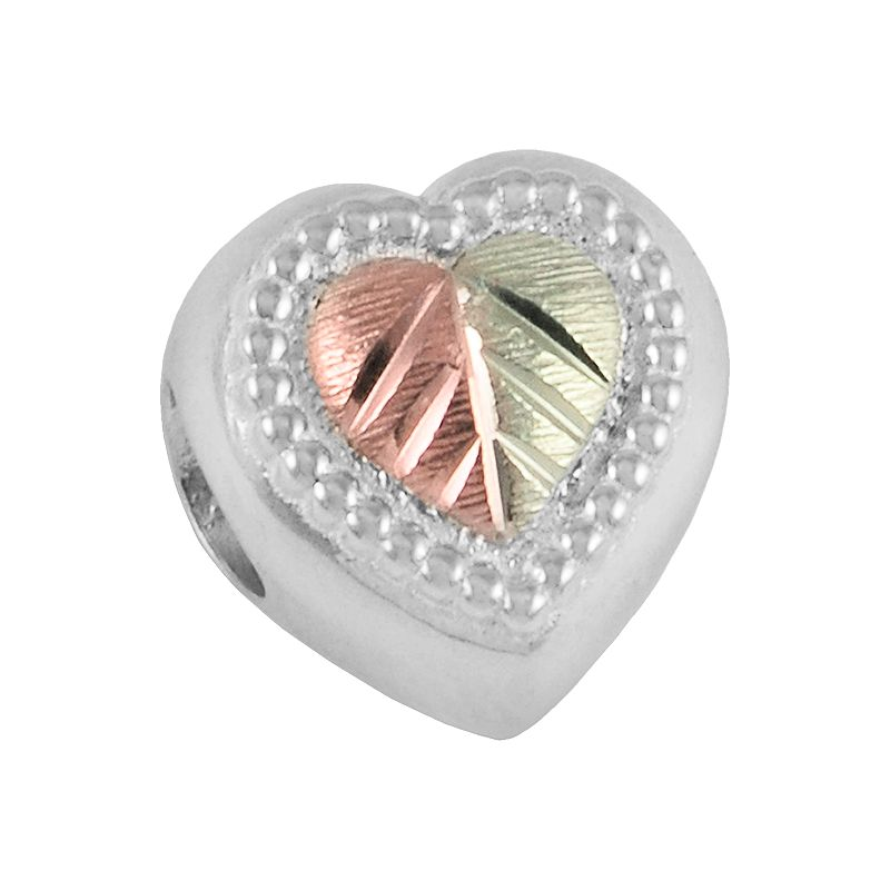 Black Hills Gold Tri-Tone Heart Bead in Sterling Silver