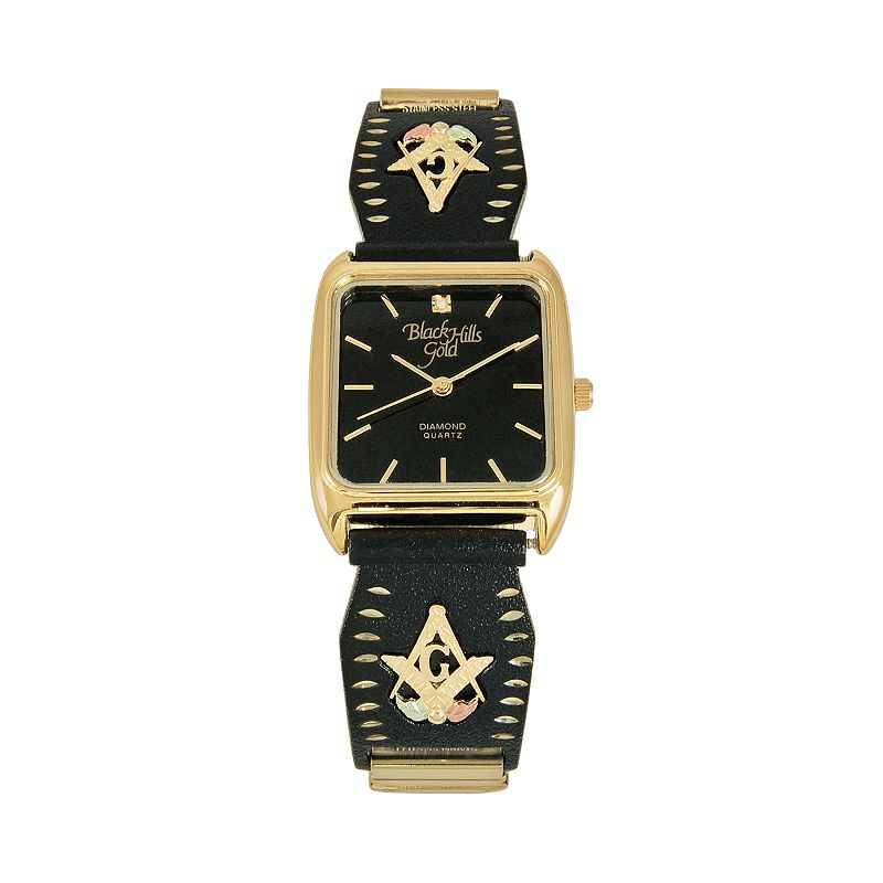 Black Hills Gold & Four Tone Stainless Steel Men's Masonic Expansion Watch - 9-WB133