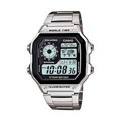 Casio World Time Stainless Steel Digital Chronograph Watch AE1200WHD-1A Men