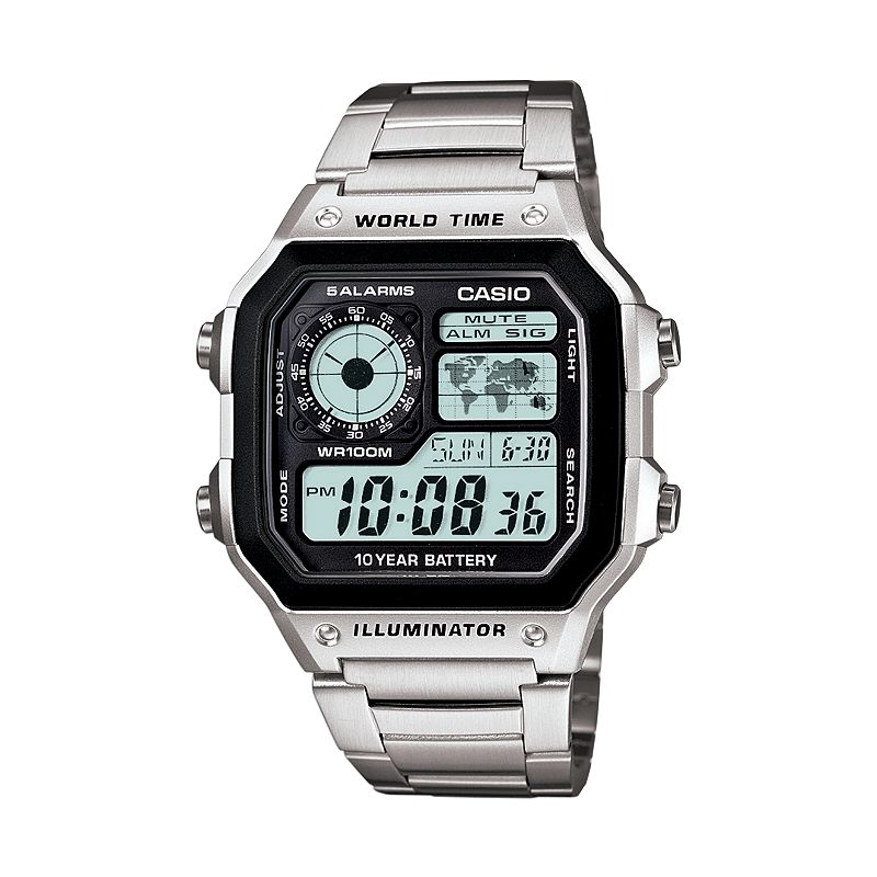 Casio World Time Stainless Steel Digital Chronograph Watch - AE1200WHD-1A - Men
