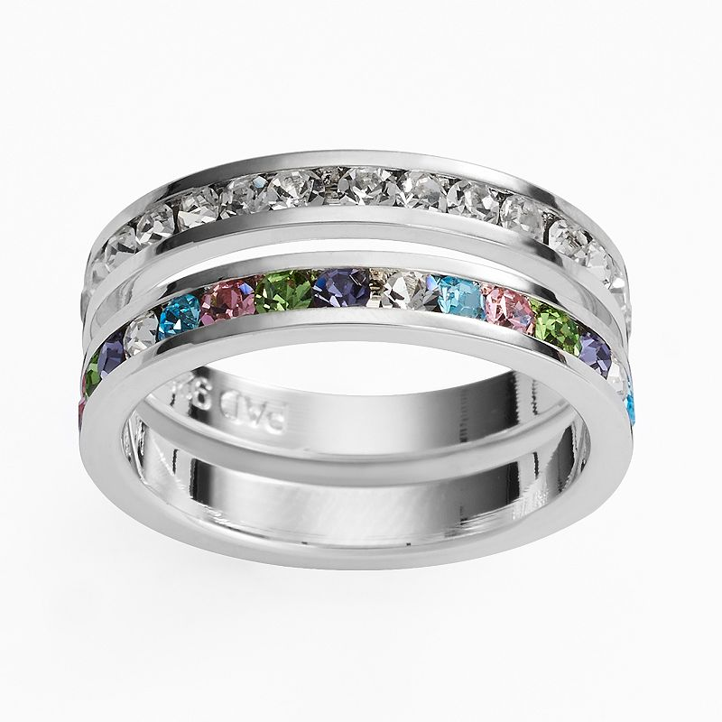 Traditions Silver Plate Multicolored Swarovski Crystal Stack Ring Set