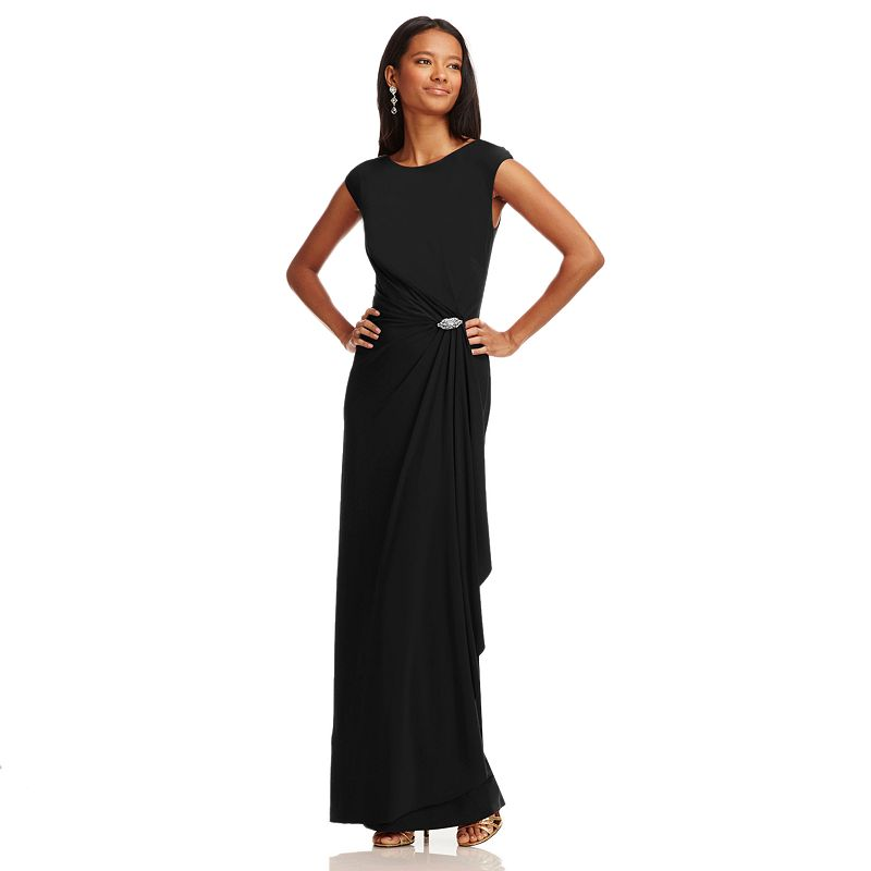 Chaps Embellished Faux-Wrap Evening Gown
