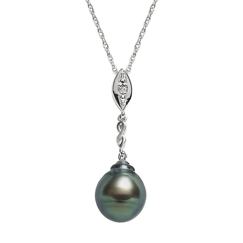 Sterling Silver Tahitian Cultured Pearl and Diamond Accent Pendant