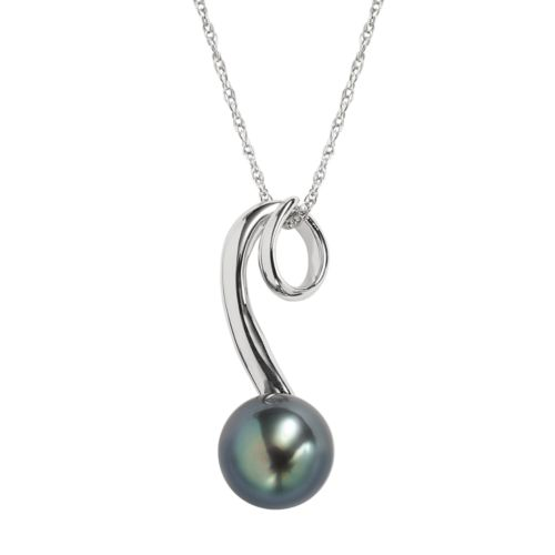 Sterling Silver Tahitian Cultured Pearl Swirl Pendant