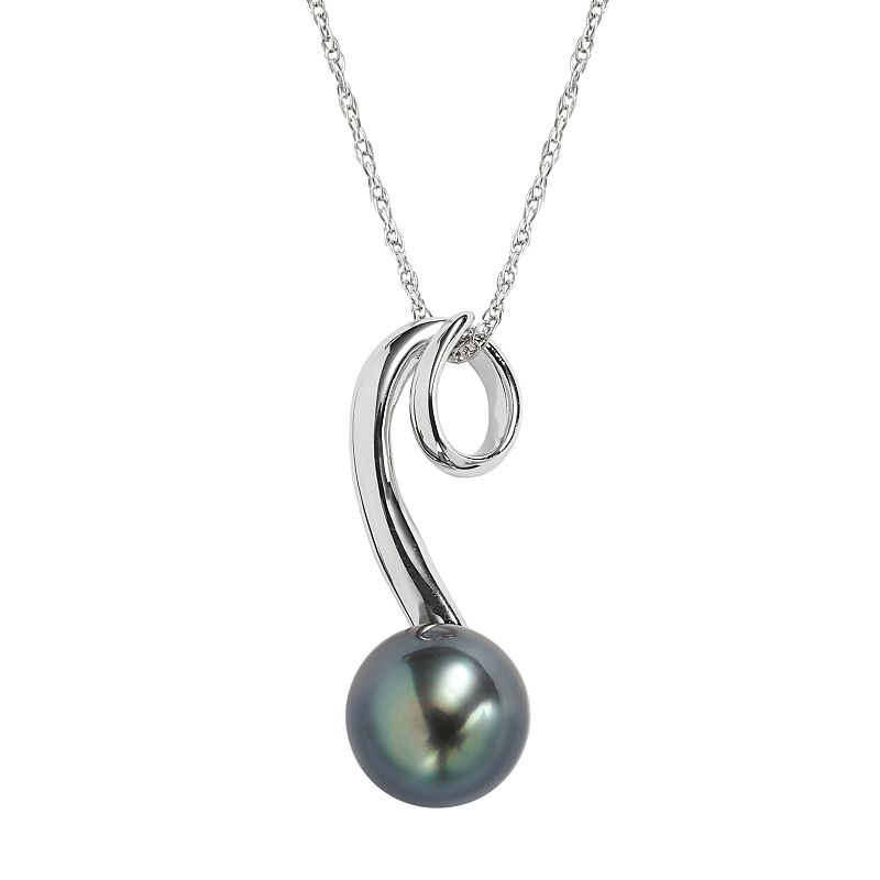 Sterling Silver Tahitian Cultured Pearl Swirl Pendant