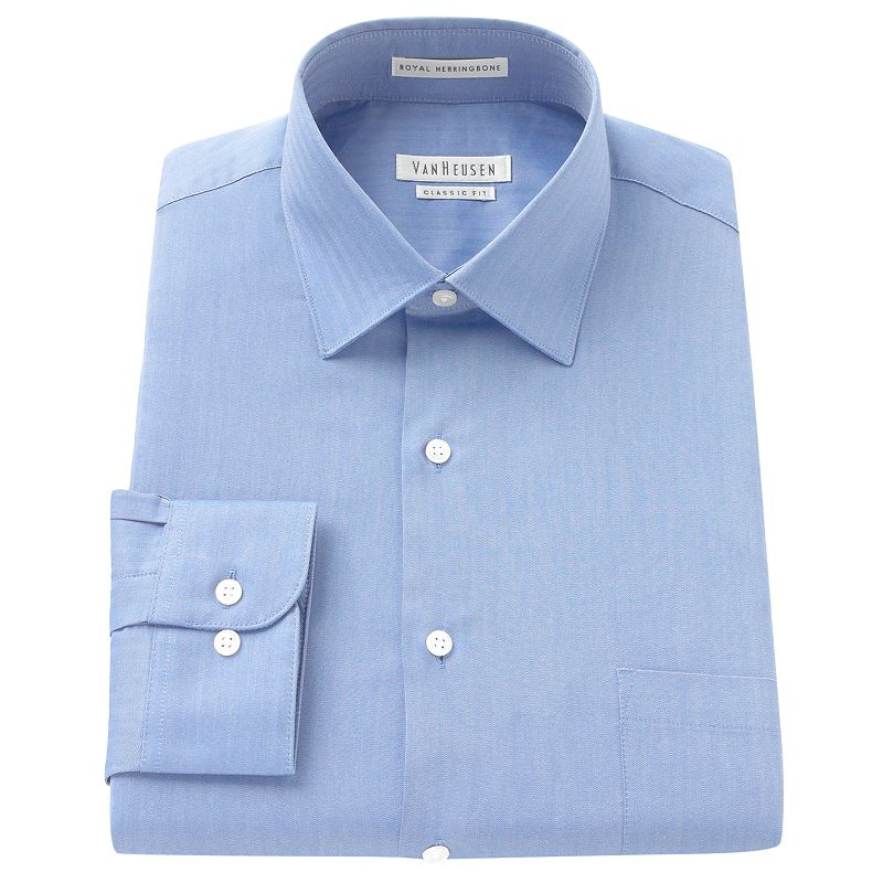 Van heusen classic fit royal herringbone textured no iron for Mens no iron dress shirts
