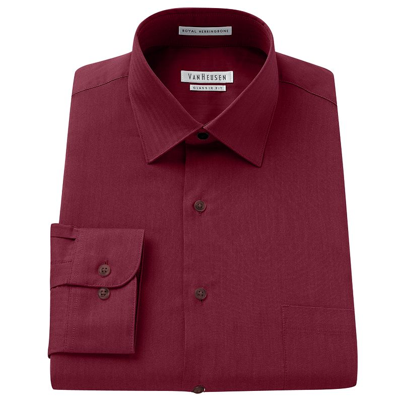 Men's Van Heusen Classic-Fit Royal Herringbone Textured Wrinkle-Free Spread-Collar Dress Shirt
