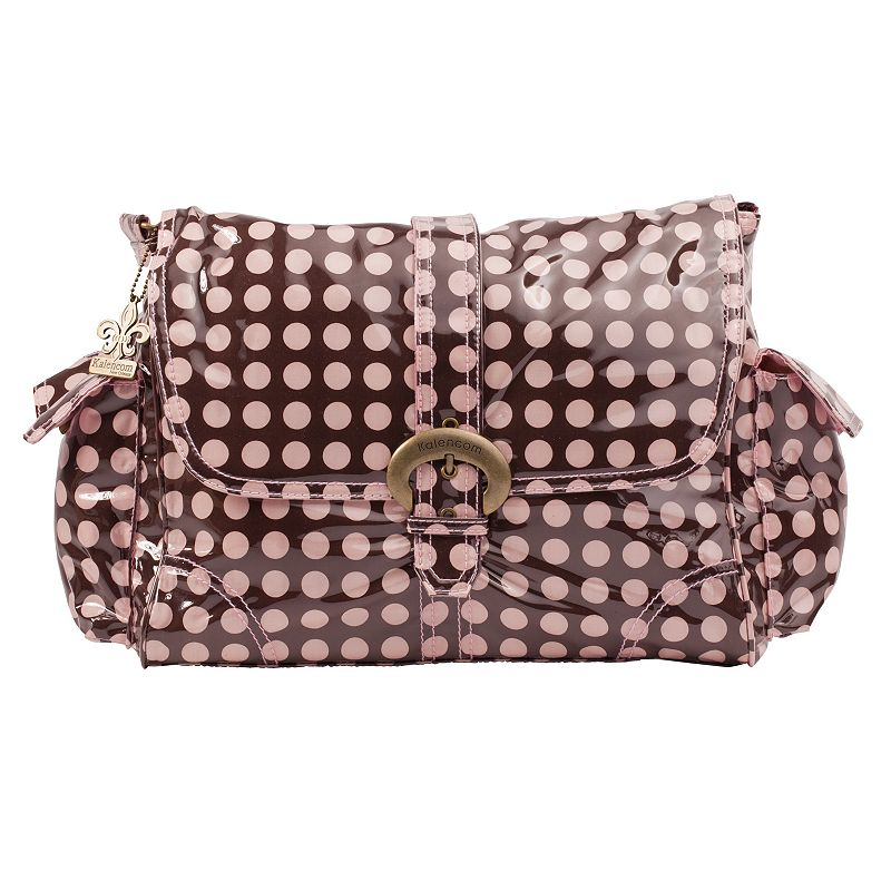 Kalencom Heavenly Dots Laminated Buckle Diaper Bag - Pink and Brown