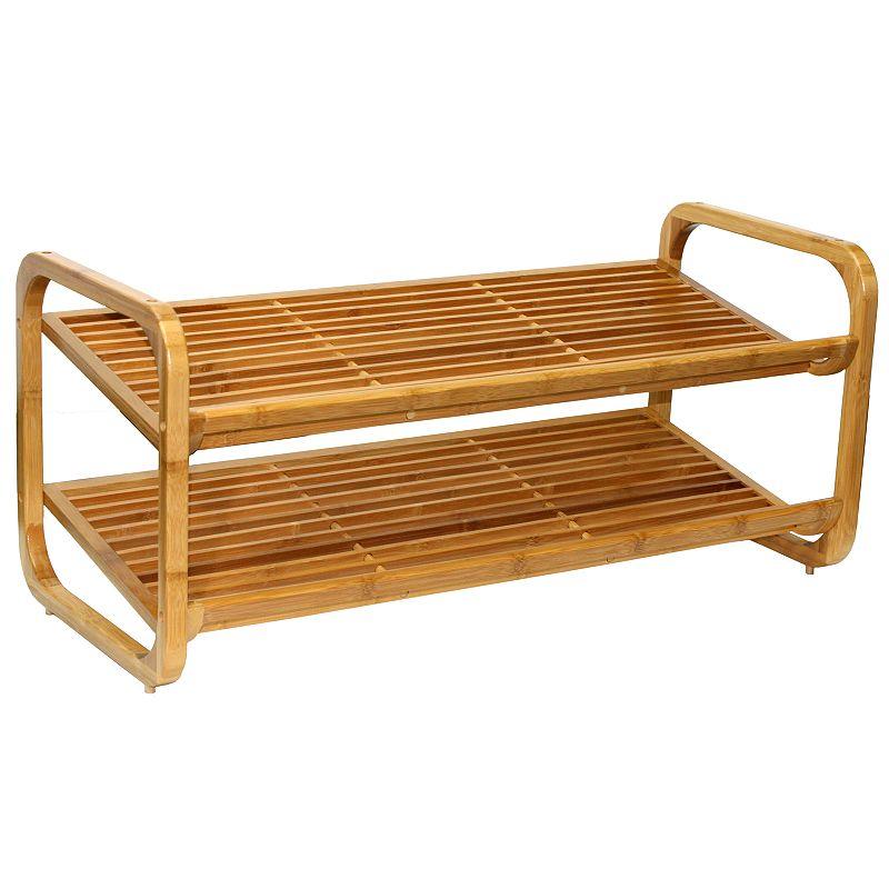 Oceanstar 2-Tier Adjustable Bamboo Shoe Rack