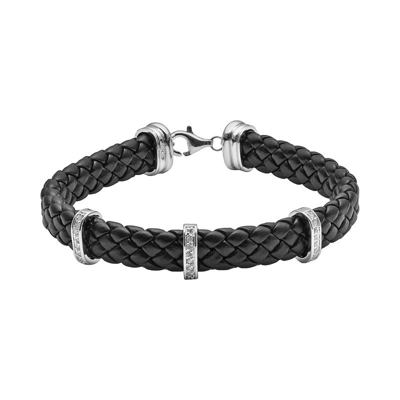 Sterling Silver and Black Leather Double Bar 1/4-ct. T.W. Diamond Bracelet